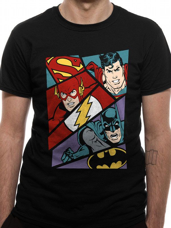 Justice League T-Shirt Heroes Pop Art (S)