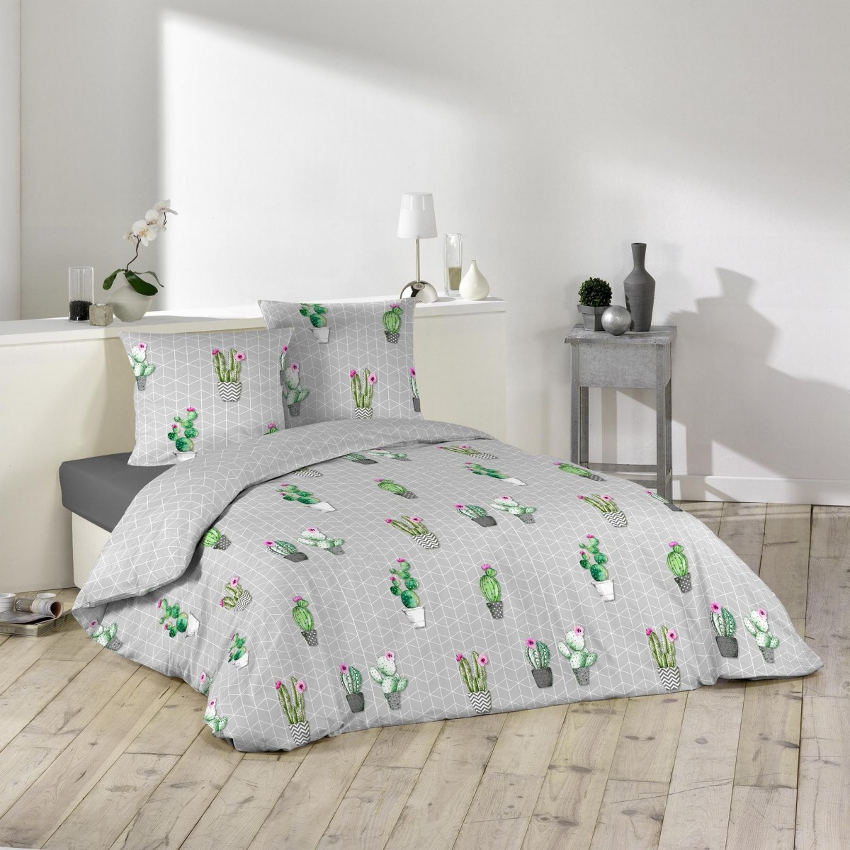 parure housse de couette collection cactus. Black Bedroom Furniture Sets. Home Design Ideas