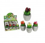 1 bougie en forme de tulipe orange dans son pot