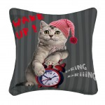 Housse de coussin 40 x 40 cm imprime Cat wake up
