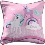 Coussin Passepoil polyester imprime Modele Licornes 40 x 40 cm