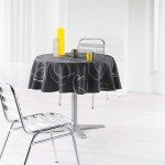 Nappe ronde polyester imprime Collection Argent Bully 180 cm