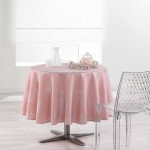 Nappe ronde polyester imprime Collection Argent Plumia
