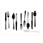Set de table opaque motif Love Cooking couverts 28 x 44 cm