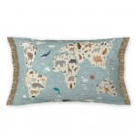 Coussin Sauvons les animaux map