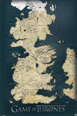 GAME OF THRONES Le Trône de fer Poster Map 61 x 91 cm