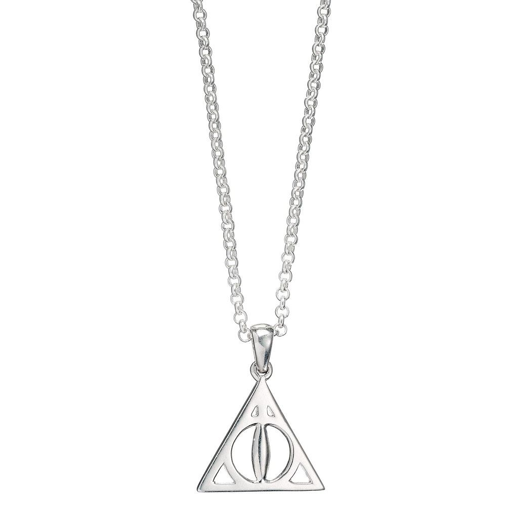 Harry Potter pendentif et collier argent Deathly Hallows