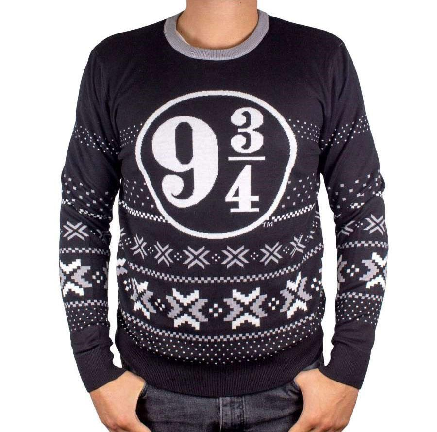 Harry Potter Sweater Christmas Platform 9 3/4 Black (L)