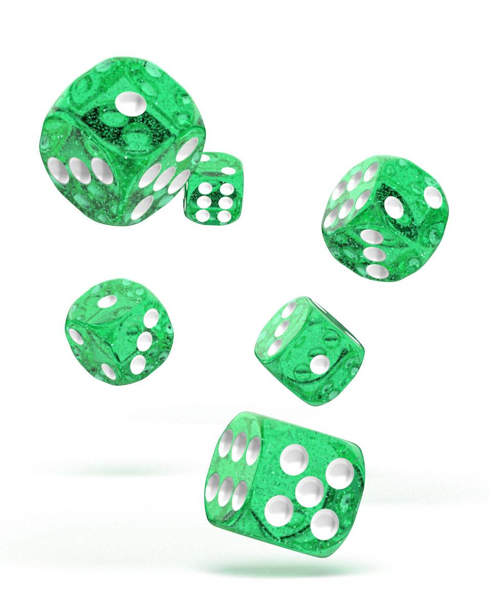 Oakie Doakie Dice dés D6 16 mm Speckled - Vert (12)