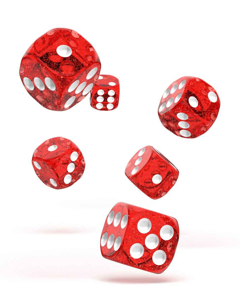 Oakie Doakie Dice dés D6 16 mm Speckled - Rouge (12)