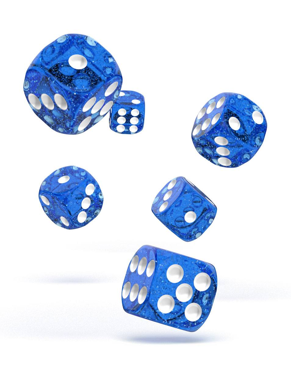 Oakie Doakie Dice dés D6 16 mm Speckled - Bleu (12)