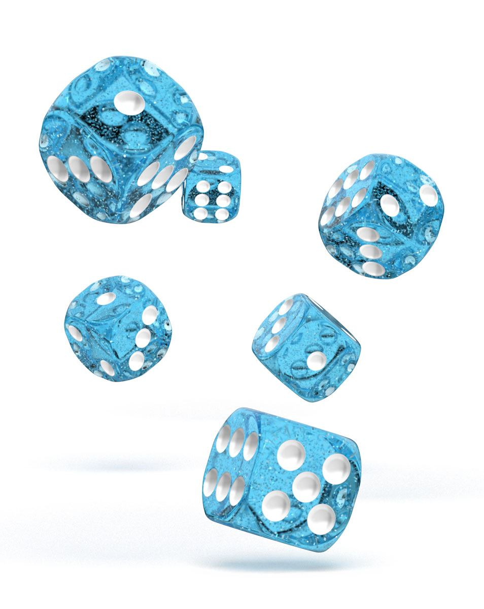 Oakie Doakie Dice dés D6 16 mm Speckled - Bleu clair (12)