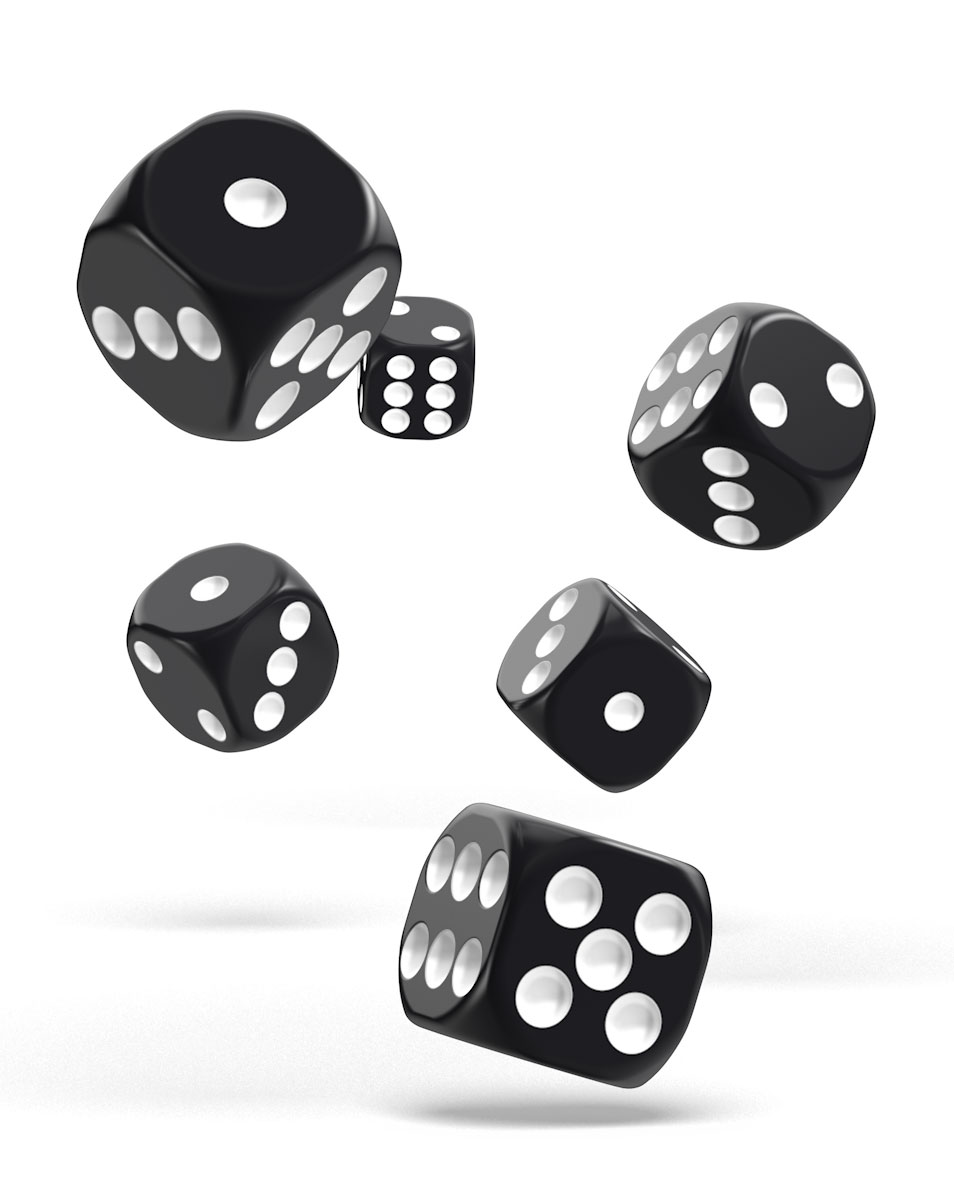 Oakie Doakie Dice dés D6 16 mm Solid - Noir (12)