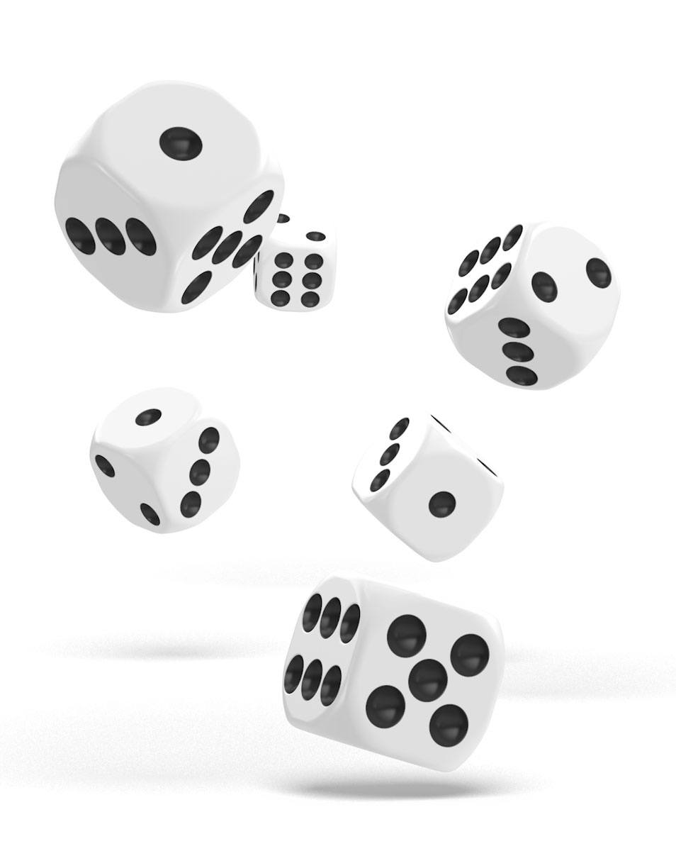 Oakie Doakie Dice dés D6 16 mm Solid - Blanc (12)