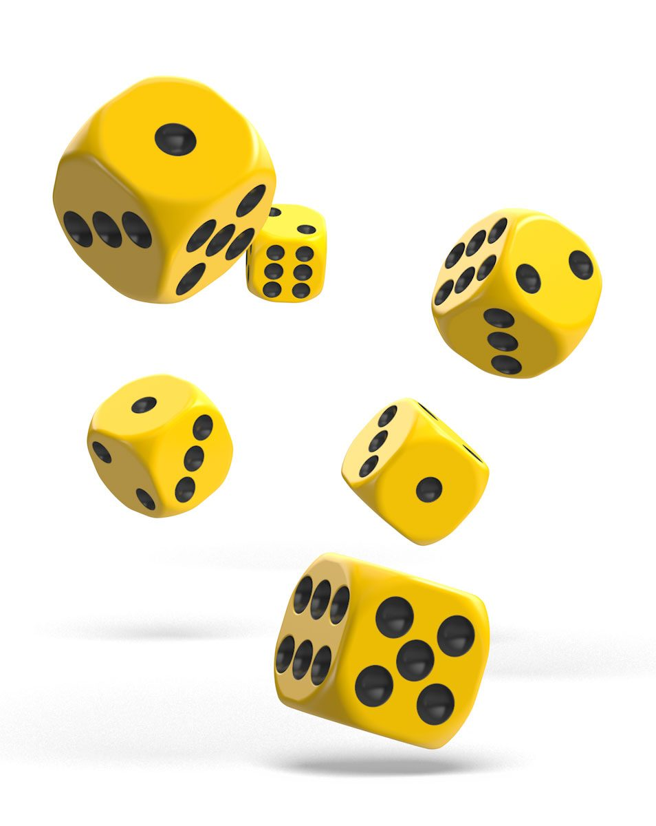 Oakie Doakie Dice dés D6 16 mm Solid - Jaune (12)