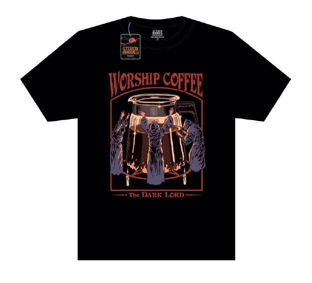 Steven Rhodes T-Shirt Worship Coffee noir (XL)