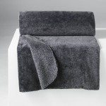 Plaid Couverture Flanelle Sweden Anthracite 125 x 150 cm