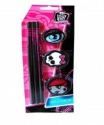 MONSTER HIGH Pack de 3 crayons à papier + 3 gommes
